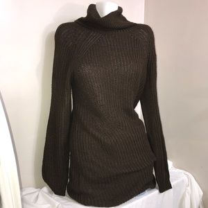 MOIETY Chocolate Brown Cable Knit Sweater Dress